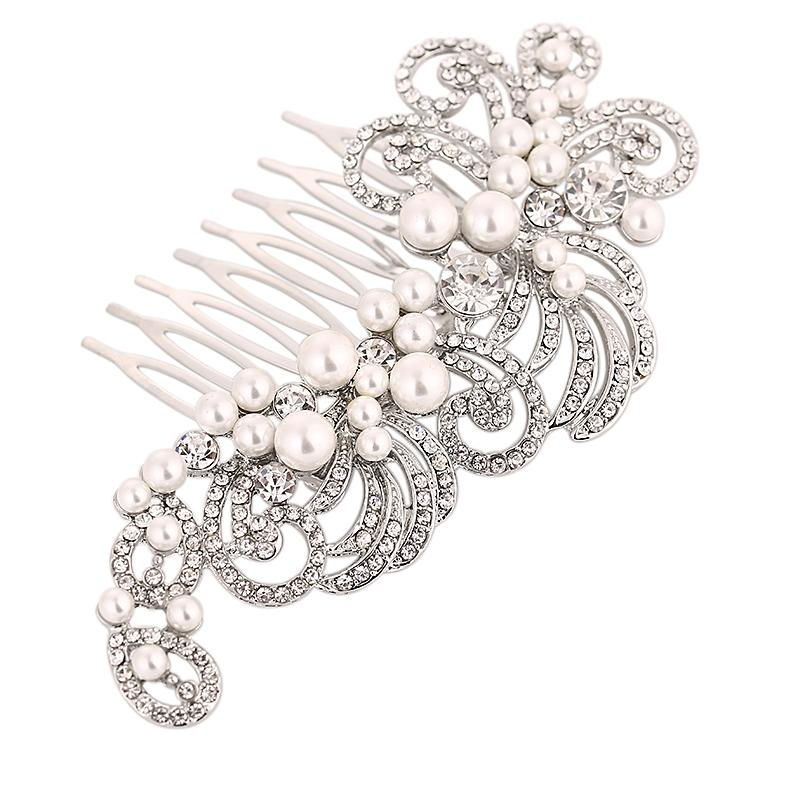 Vintage Charm Crystal and Pearl Hair Comb-Hair combs-Bridal-Silver-Tegen Accessories