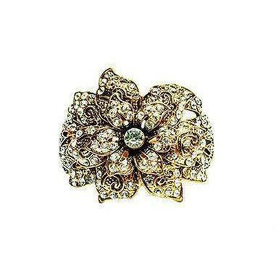Vintage Crystal Flower Cuff-Discontinued-Clear Crystal-Tegen Accessories