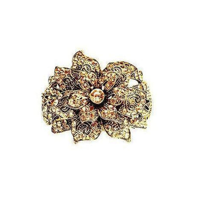 Vintage Crystal Flower Cuff-Discontinued-Rose Gold Crystal-Tegen Accessories