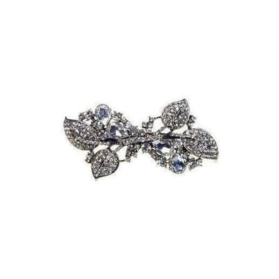 Vintage Crystal Leaves Barrette-Discontinued-Silver-Tegen Accessories