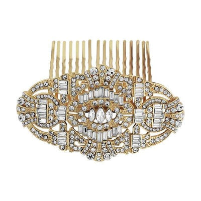 Vintage Style Crystal Comb-Hair combs-Bridal-Gold-Tegen Accessories