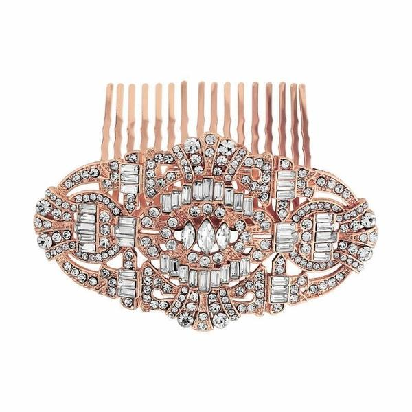 Vintage Style Crystal Comb-Hair combs-Bridal-Rose Gold-Tegen Accessories