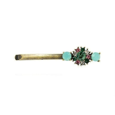 Vintage Swarovski Crystal Hair Slide-Discontinued-Green Opal-Tegen Accessories