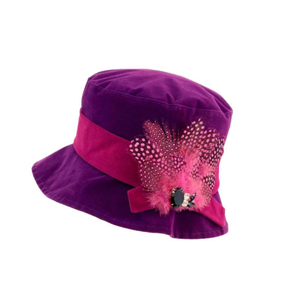 Water Resistant Velour Feather Brooch Hat-Hats-Proppa Toppa-Purple-Tegen Accessories