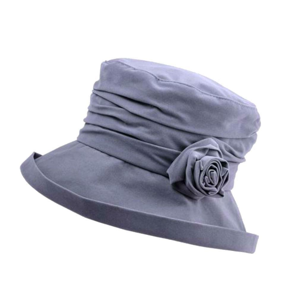 Water Resistant Velour Rain Hat with Flower-Hats-Proppa Toppa-Grey-Tegen Accessories