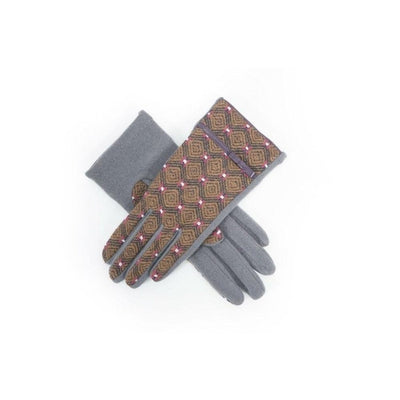 Wilma Wool Gloves-Discontinued-Charcoal/Brown-Tegen Accessories