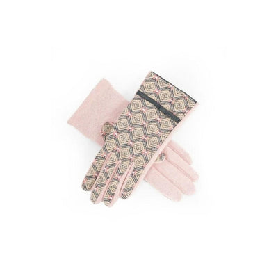 Wilma Wool Gloves-Discontinued-Pink/Charcoal-Tegen Accessories