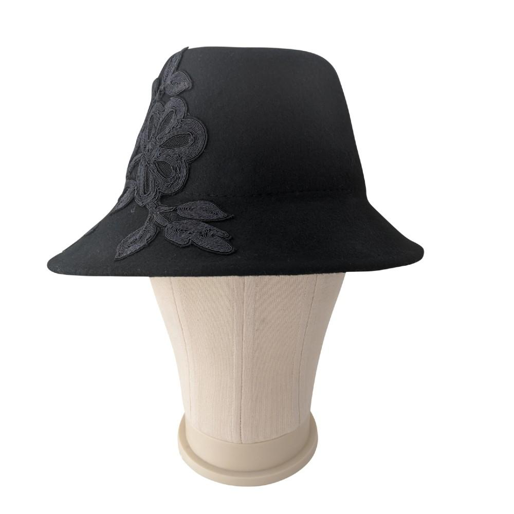 Wool Asymmetric Fedora with Lace Appliqué-Suzanne Bettley-Hats-Tegen Accessories-Red