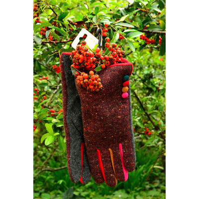 Wool Fleck Gloves with Multicolour Buttons-Gloves-Tegen Accessories-Tegen Accessories