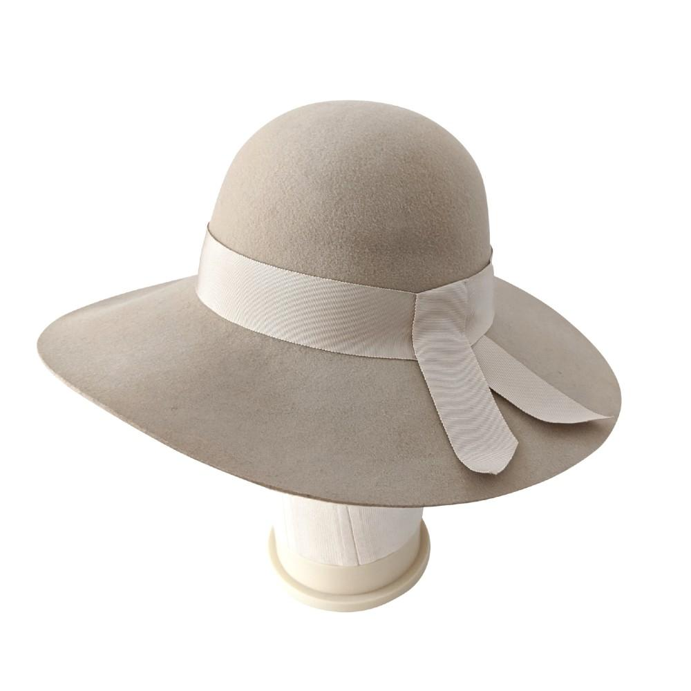 Wool Wide Brim Cloche Hat-Snoxells-Hats-Tegen Accessories-Beige Cream