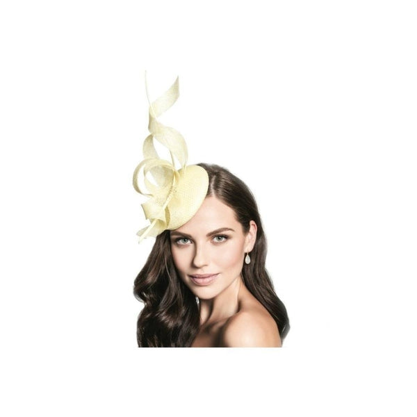 Yellow Crystal Spiral Fascinator-Discontinued-Yellow-Tegen Accessories