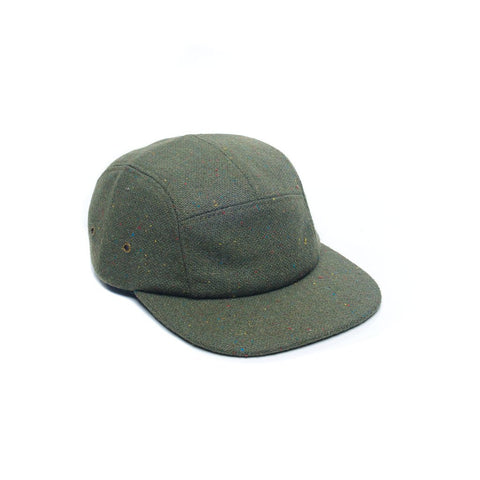 Army Green Tweed Wool Blank 5 Panel Camper