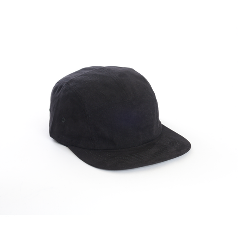 Black - Full Suede Blank 5 Panel Hat for Wholesale or Custom