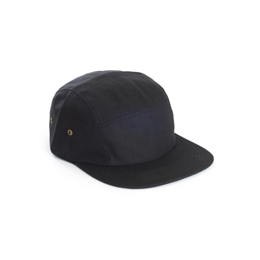 Black - Ripstop Cotton Blank 5 Panel Hat for Wholesale or Custom