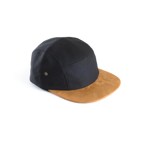 Black and Suede - Blank 5 Panel Hat for Wholesale or Custom