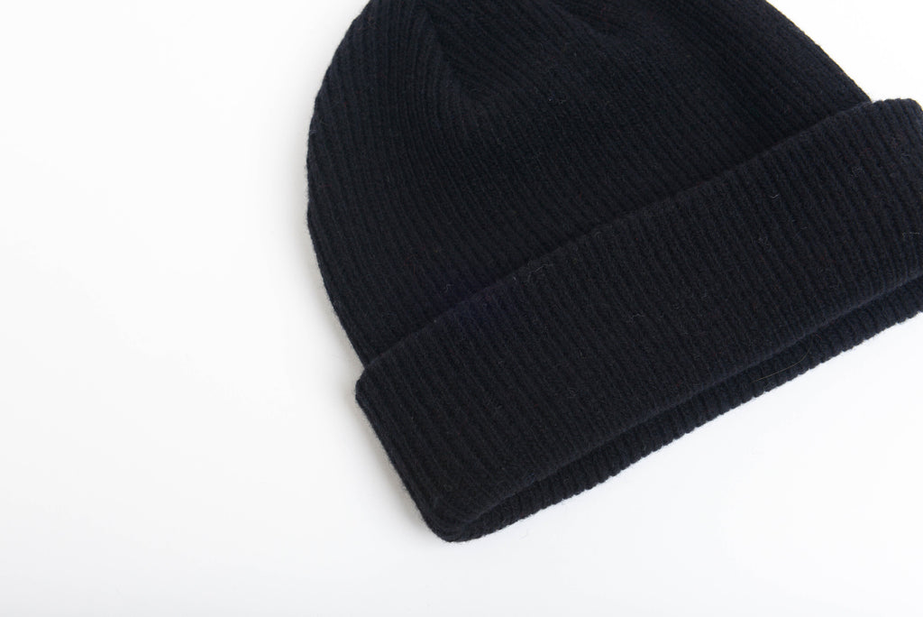 Black - Merino Wool Blank Beanie Hat for Wholesale or Custom
