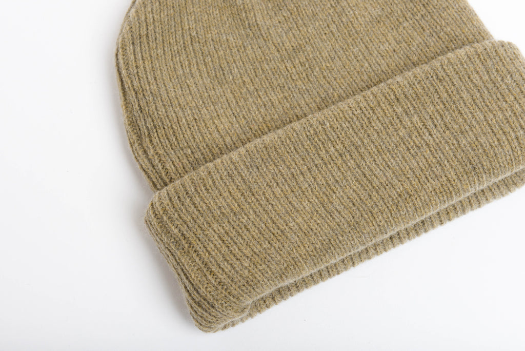 Olive - Merino Wool Blank Beanie Hat for Wholesale or Custom