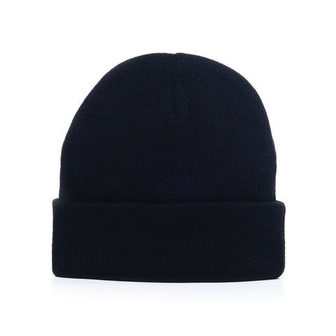Midnight Black - Acrylic Rib-Knit Beanie Hat for Wholesale or Custom