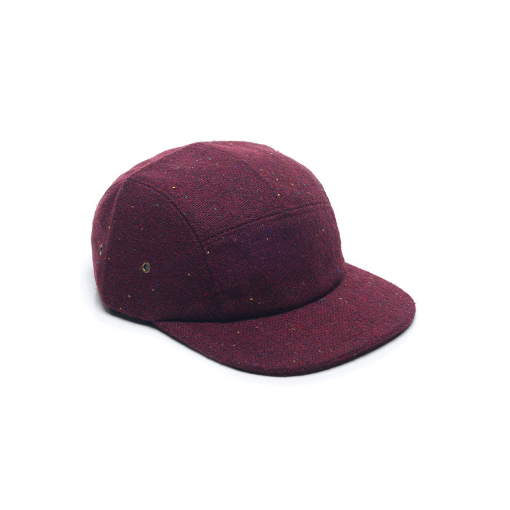 Burgundy Red - Tweed Wool Blank 5 Panel Hat for Wholesale or Custom