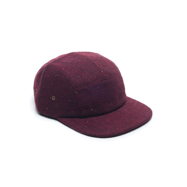 Burgundy Red Tweed Wool Blank 5 Panel Blank