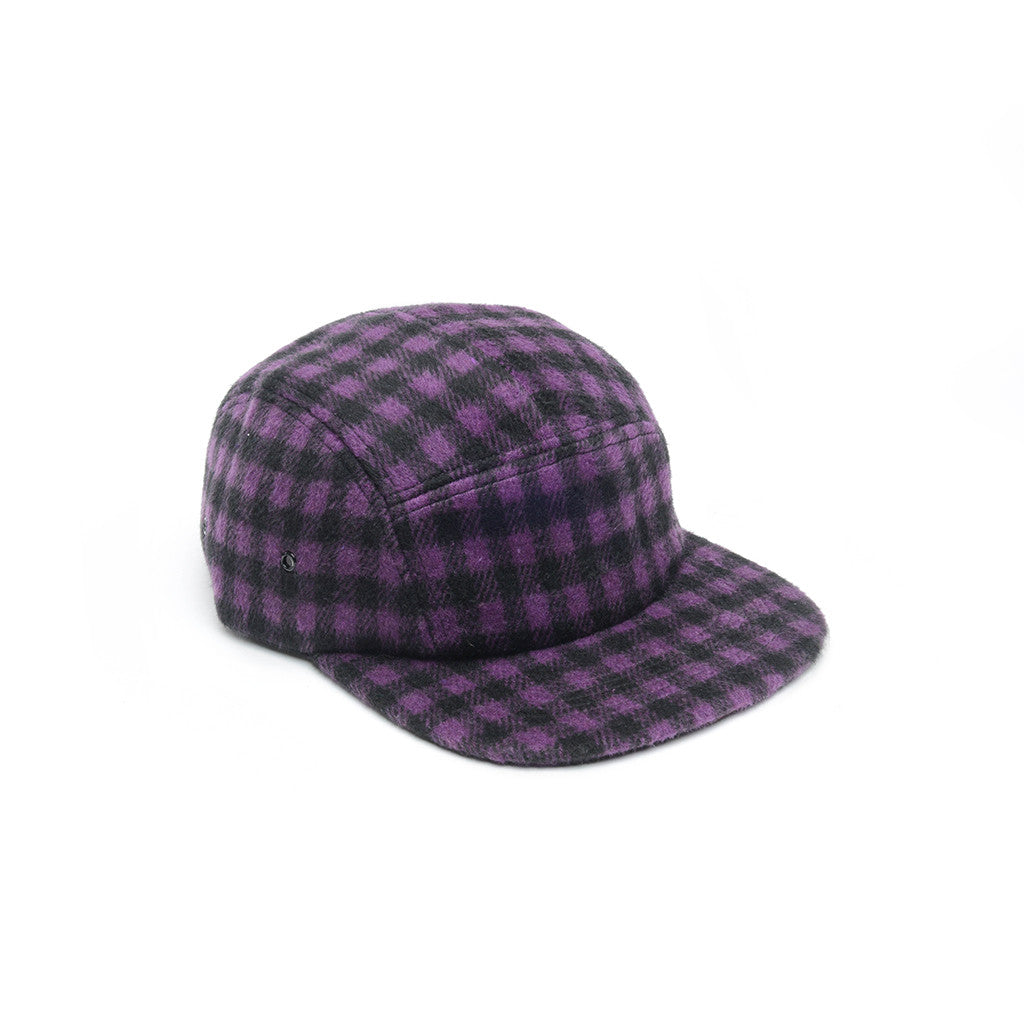 Purple & Black - Checkered Wool 5 Panel Hat for Wholesale or Custom
