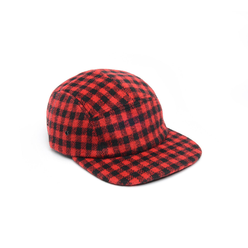 Red & Black - Checkered Wool 5 Panel Hat for Wholesale or Custom