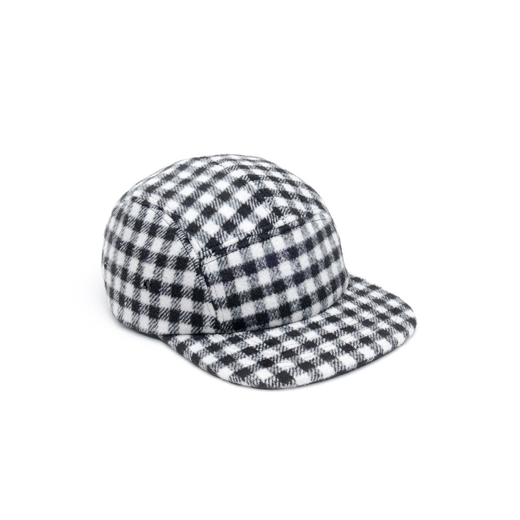 a070aa4caaa Checkered Wool Blank 5 Panel Camp Cap - White   Black – DELUSION MFG