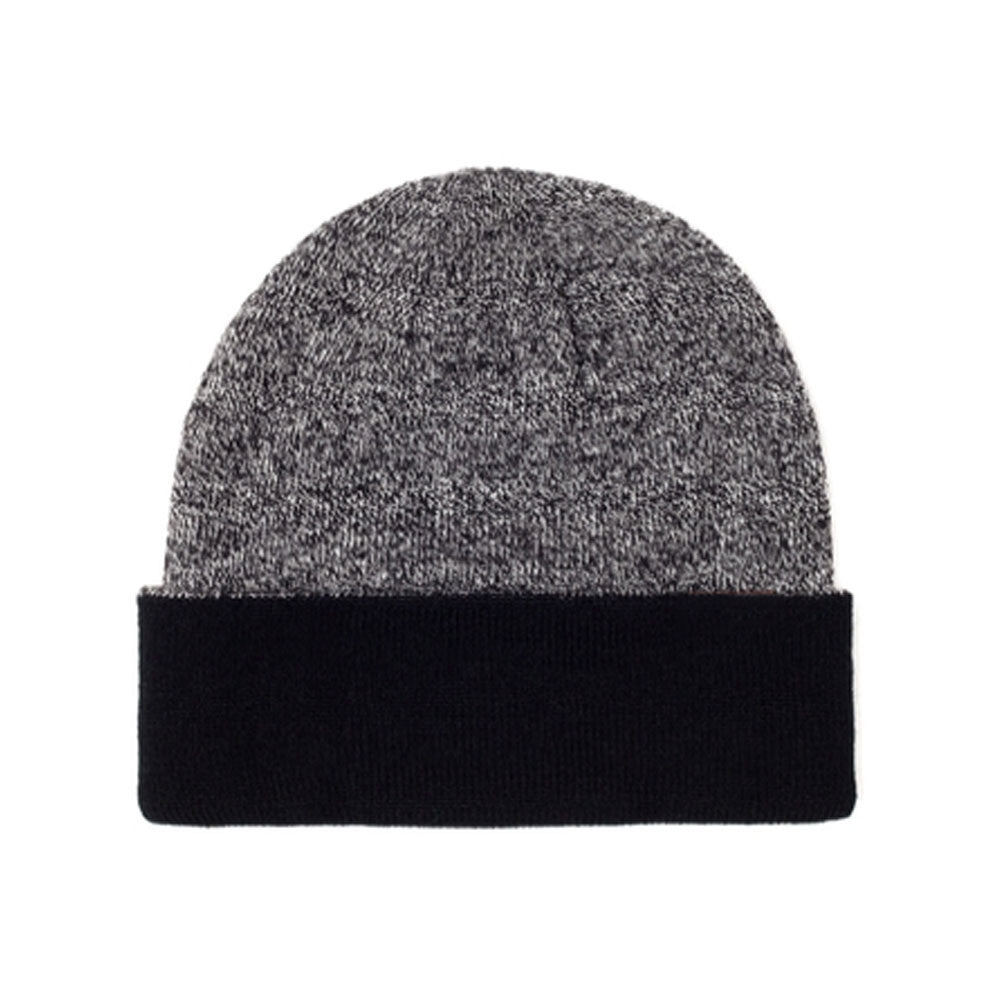 Black & Grey - Contrast Blank Mixed Beanie Hat for Wholesale or Custom