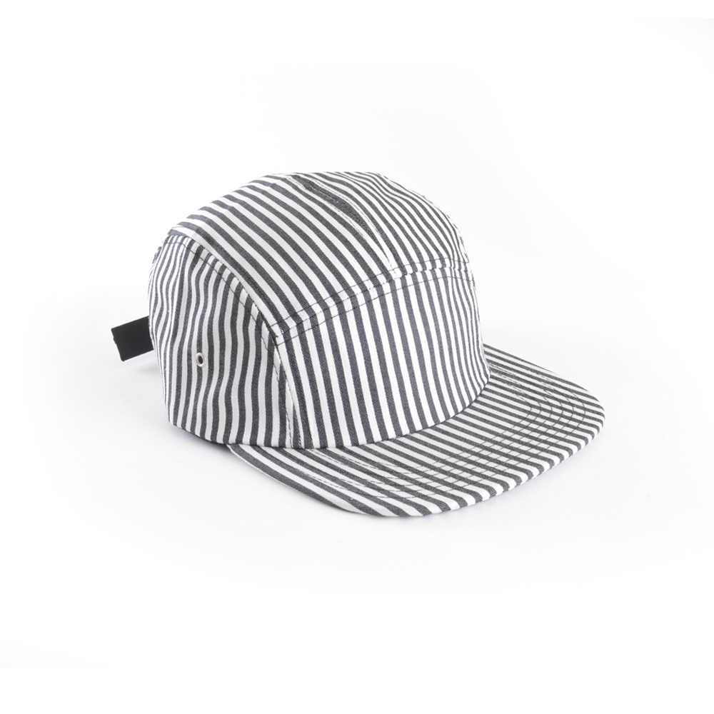 Jailhouse Striped Black & White - Blank 5 Panel Hat for Wholesale or Custom