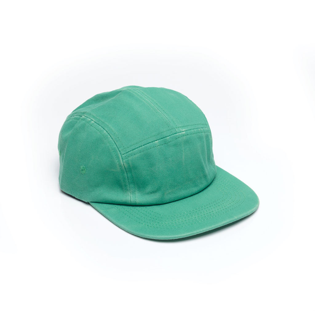 Kelly Green - Faded Cotton Twill Blank 5 Panel Hat for Wholesale or Custom