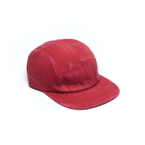 Red - Faded Cotton Twill Blank 5 Panel Hat for Wholesale or Custom