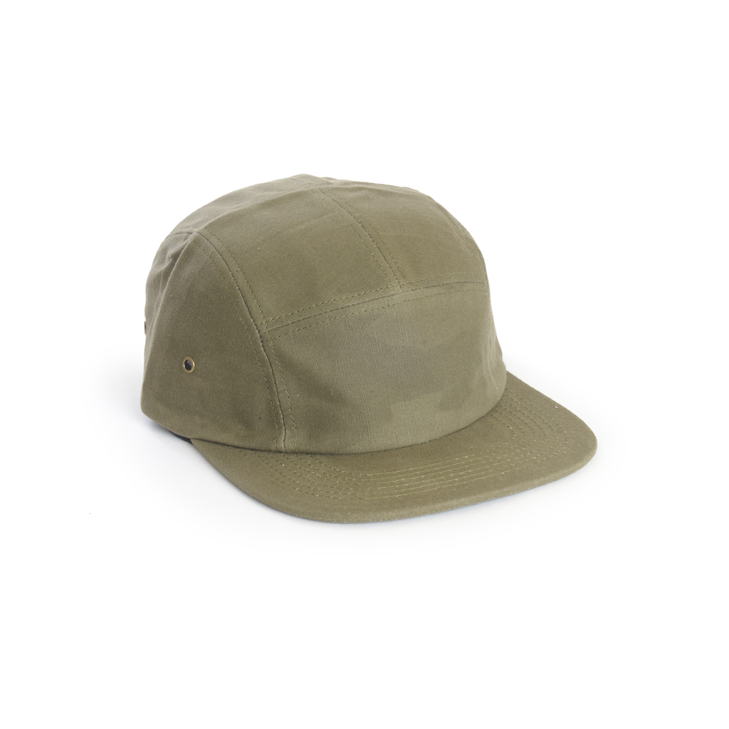 Army Green - Waxed Canvas Blank 5 Panel Hat for Wholesale or Custom
