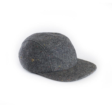 Heather Grey Tweed Wool Blank 5 Panel Camp Cap