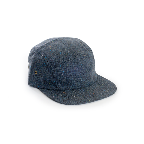 Dark Blue Tweed Wool Blank 5 Panel Camp Cap - DELUSION MFG