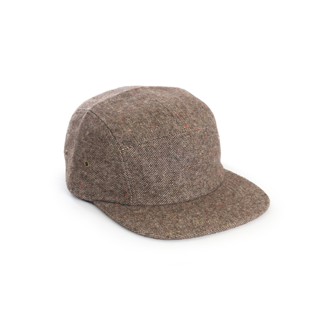Brown Tweed Wool Blank 5 Panel Camp Cap - DELUSION MFG