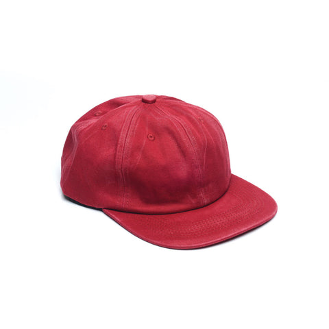 Red - Faded Unconstructed 6 Panel Hat for Wholesale or Custom