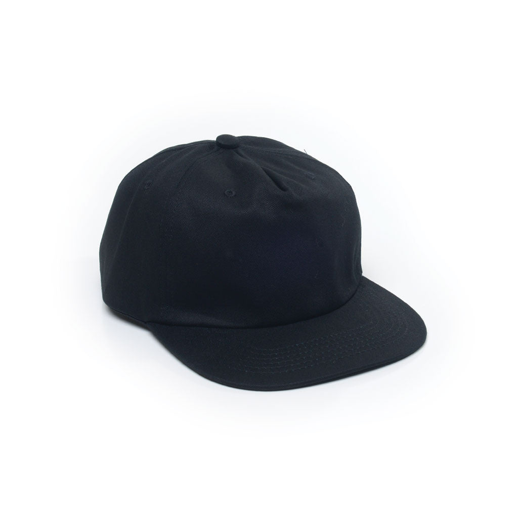 Black - Unconstructed 5 Panel Strapback Hat for Wholesale or Custom