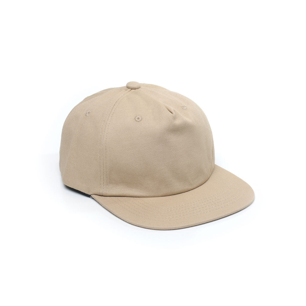 Sand - Unconstructed 5 Panel Strapback Hat for Wholesale or Custom