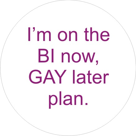 Bi Now Gay Later badge