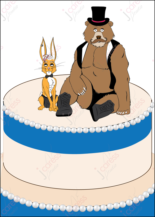 Gay friends Bear and Hare Wedding Card