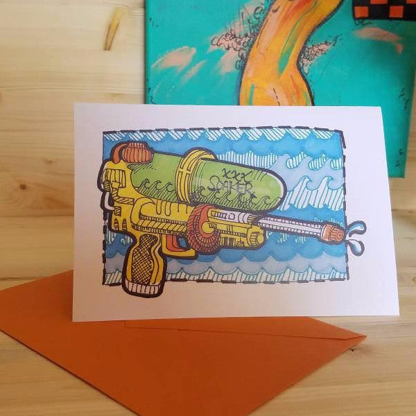 Super Soaker Greeting card by Her Dirty Dishes