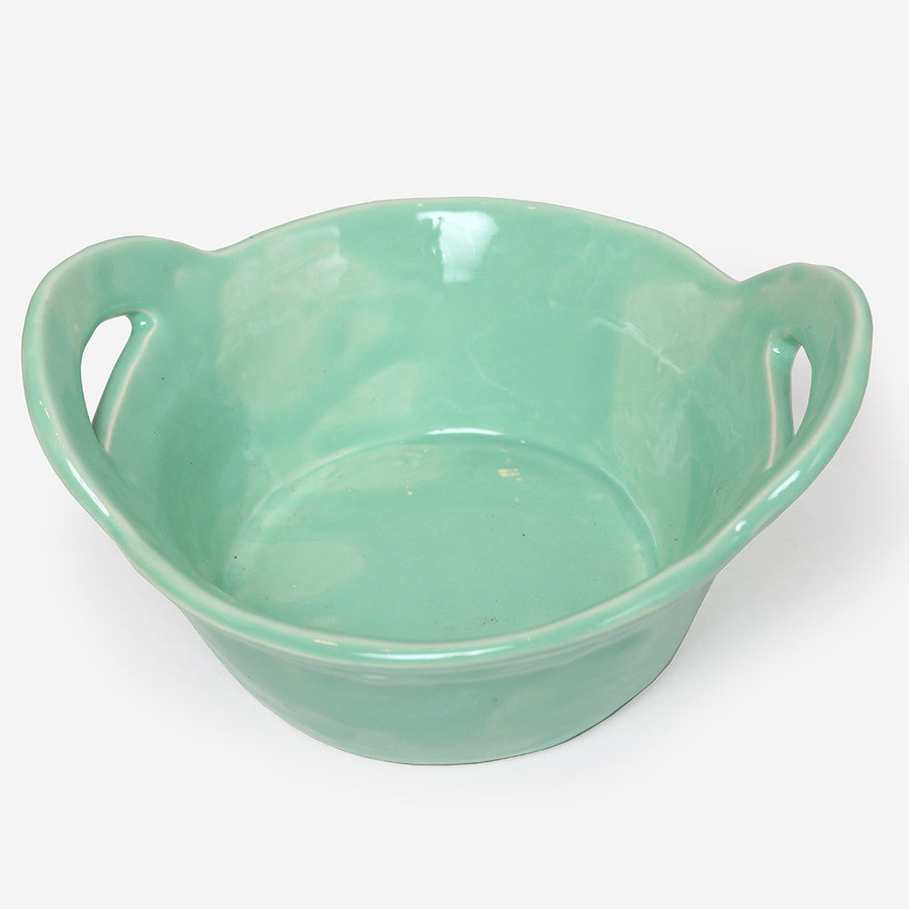 Round High servingdish with handles Green