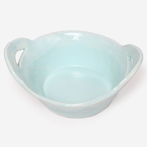 Round High servingdish with handles Turquoise