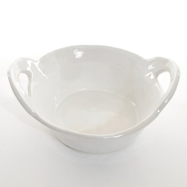 Round High servingdish with handles - White