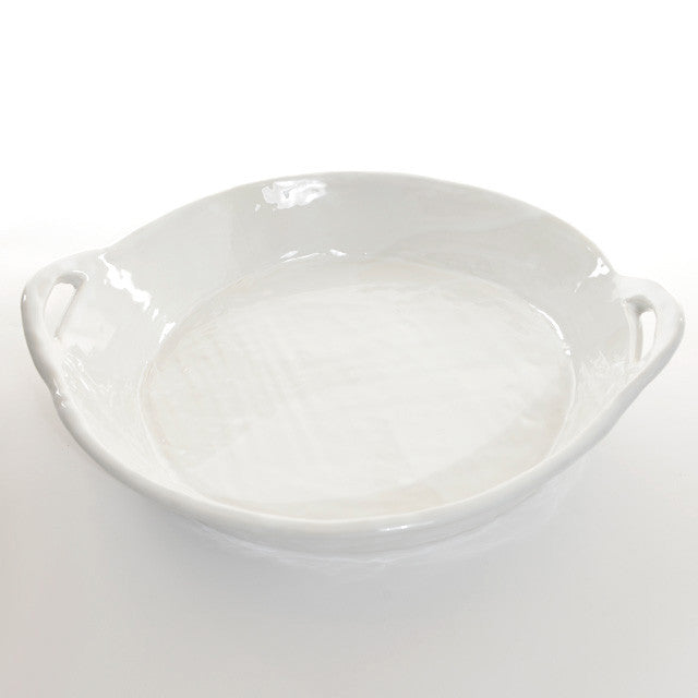 Round large servingdish with handles ovensafe - White
