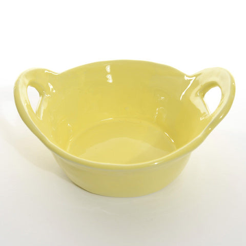 Round High servingdish with handles Yellow