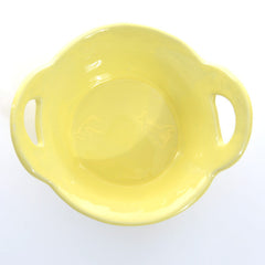 Round High servingdish with handles (Yellow)