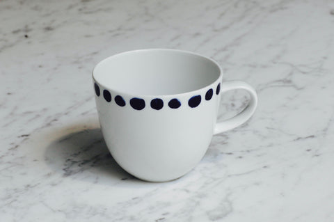 6x PORCELAIN Blue dots cup (New)