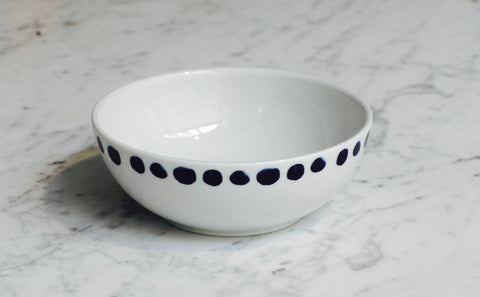 6x PORCELAIN Blue dots bowl (New)