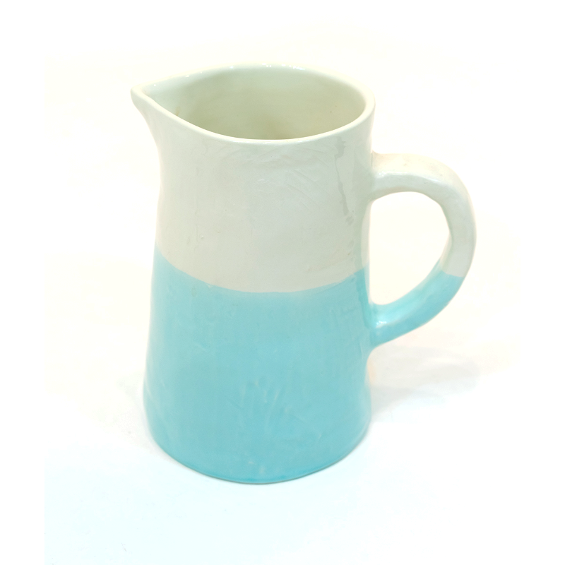 Large Jug/Pitcher Half & Half White/Turquoise